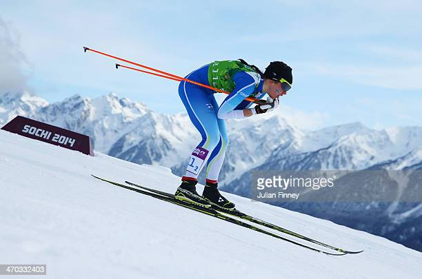 Kerttu Niskanen of Finland competes in the Women's Team Sprint Classic Final during day 12 of the 2014 Sochi Winter Olympics at Laura Crosscountry...
