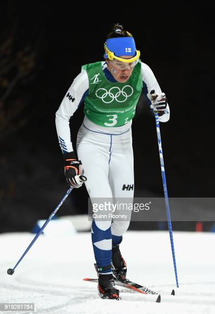 Kerttu Niskanen of Finland during the Ladies' 4x5km Relay on day eight of the PyeongChang 2018 Winter Olympic Games at Alpensia CrossCountry Centre...