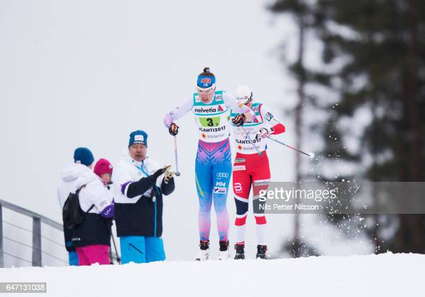 Kerttu Niskanen of Finland during the women's cross country relay during the FIS Nordic World Ski Championships on March 2 2017 in Lahti Finland