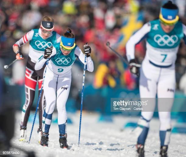 Kerttu Niskanen of Finland in action during the CrossCountry Skiing Ladies' 30km Mass Start Classic at the Alpensia CrossCountry Skiing Centre on...