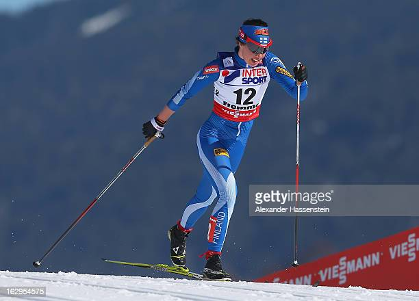Kerttu Niskanen of Finland in action during the Women's Cross Country Mass Start 30Km at the FIS Nordic World Ski Championships on March 2, 2013 in...