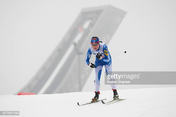 Kerttu Niskanen of Finland takes third place during the FIS CrossCountry World Cup Ladies 30 km Mass Start Classic on March 9 2014 in Oslo Norway