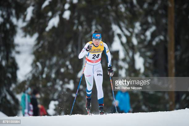 Kerttu Niskanen of Finland during the ladies cross country 10K classic competition at FIS World Cup Ruka Nordic season opening at Ruka Stadium on...