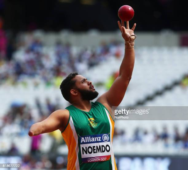 Kerwin Noemdo of South Africa compete in Men's Shoot Put T46 Final during IPC World Para Athletics Championships at London Stadium in London on July...