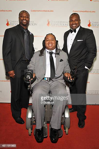 Kerwin Rigaud Eric LeGrand and Bart Scott attend the Christopher Dana Reeve Foundation's A Magical Evening Gala at Cipriani Wall Street on November...