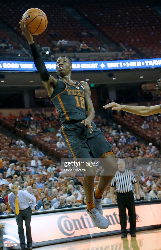 Kerwin Roach II #12 of the Texas Longhorns leaps to the basket at the Frank Erwin Center on November 18, 2017 in Austin, Texas.
