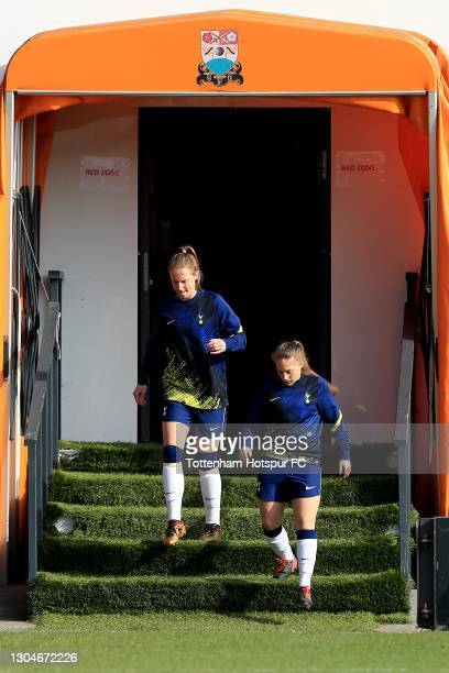 Kerys Harrop and Angela Addison of Tottenham Hotspur prepare to warm up ahead of the Barclays FA Women's Super League match between Tottenham Hotspur...