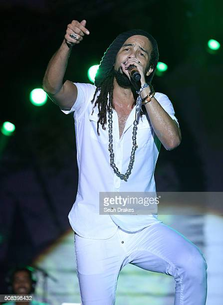 Kes Dieffenthaller performs during the Hyatt LIME fete at Hyatt Regency Trinidad as part of Trinidad and Tobago Carnival on February 03 2016 in Port...