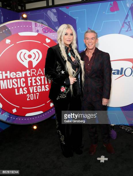 Kesha and Elvis Duran attend the 2017 iHeartRadio Music Festival at TMobile Arena on September 23 2017 in Las Vegas Nevada