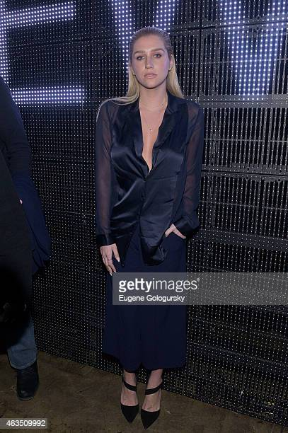 Kesha attends the DKNY Front Row Backstage MercedesBenz Fashion Week Fall 2015 on February 15 2015 in New York City