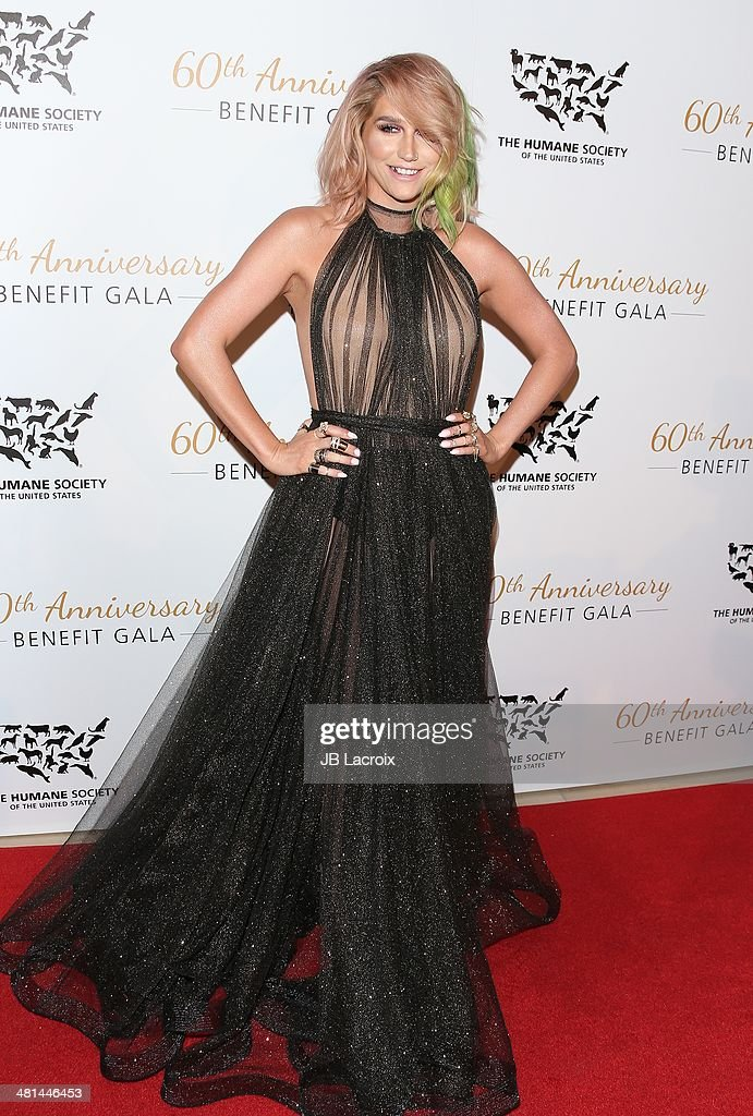 Kesha attends The Humane Society Of The United States 60th Anniversary Benefit Gala held at The Beverly Hilton Hotel on March 29, 2014 in Hollywood, California.