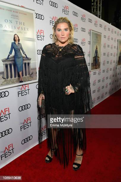 Kesha attends the Opening Night World Premiere Gala Screening of 'On The Basis Of Sex' at AFI FEST 2018 Presented By Audi at TCL Chinese Theatre on...