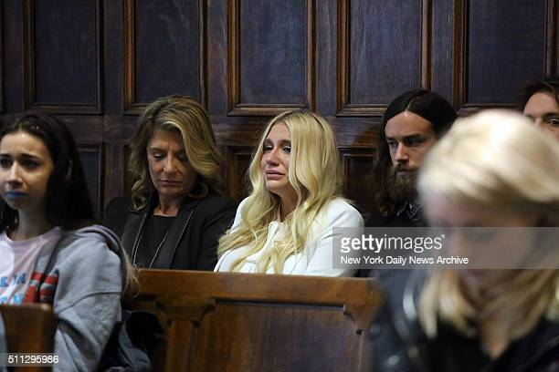 Kesha cries as she learns she will not be released from her record label contract in Manhattan Supreme Court on Friday February 19 2016 A judge said...