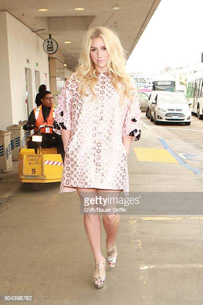 Kesha is seen at LAX on January 10 2016 in Los Angeles California