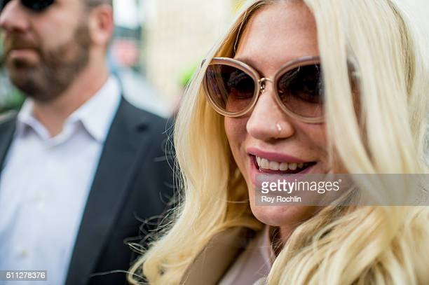 Kesha makes a court appearance as fans protest Sony Music Entertainment outside New York State Supreme Court on February 19 2016 in New York City...