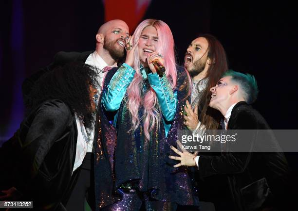 Kesha on stage during the MTV EMAs 2017 held at The SSE Arena Wembley on November 12 2017 in London England