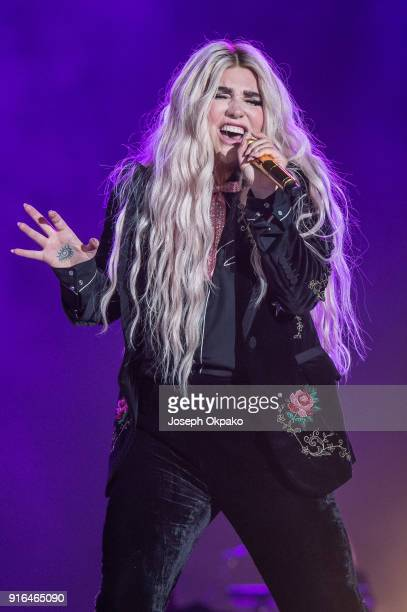 Kesha performs live on stage during Redfestdxb Festival 2018 on February 9 2018 in Dubai United Arab Emirates