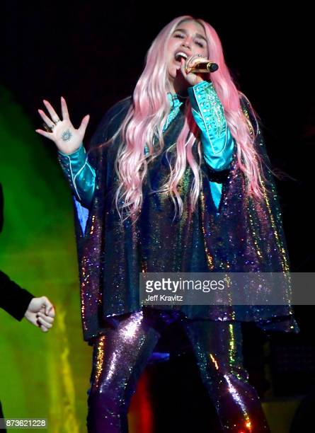 Kesha performs on stage during the MTV EMAs 2017 held at The SSE Arena Wembley on November 12 2017 in London England