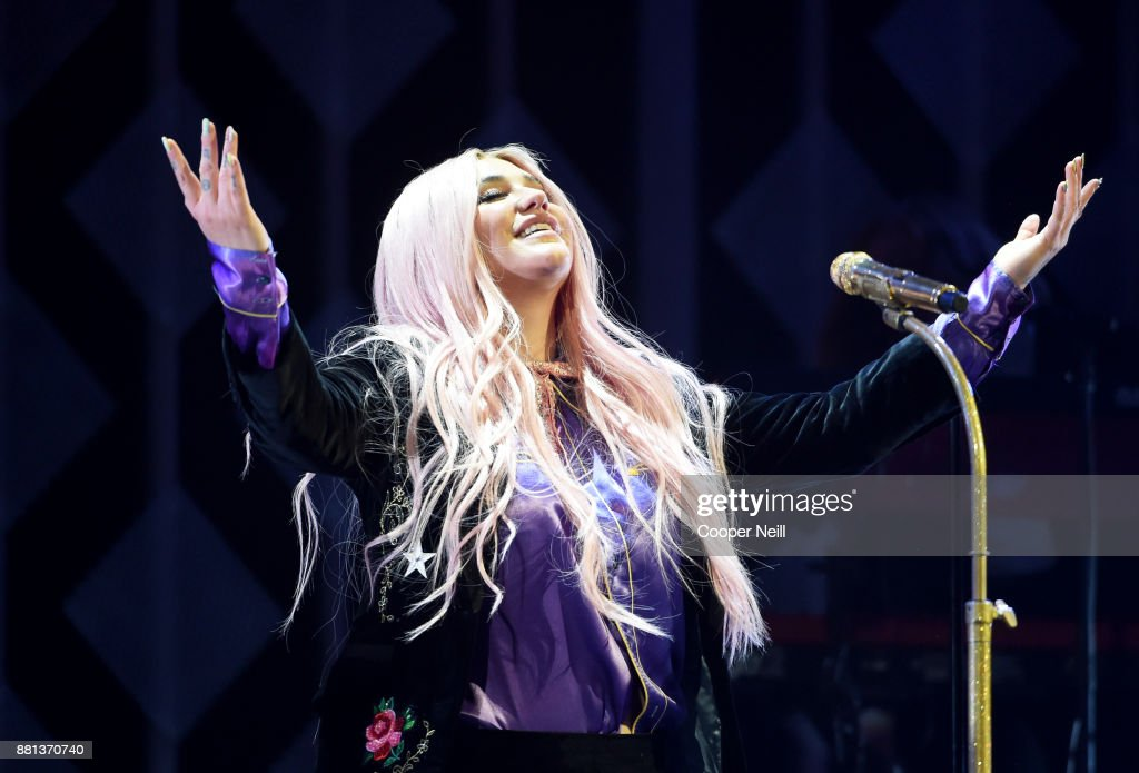 Kesha performs onstage at 106.1 KISS FM's Jingle Ball 2017 Presented by Capital One at American Airlines Center on November 28, 2017 in Dallas, Texas.