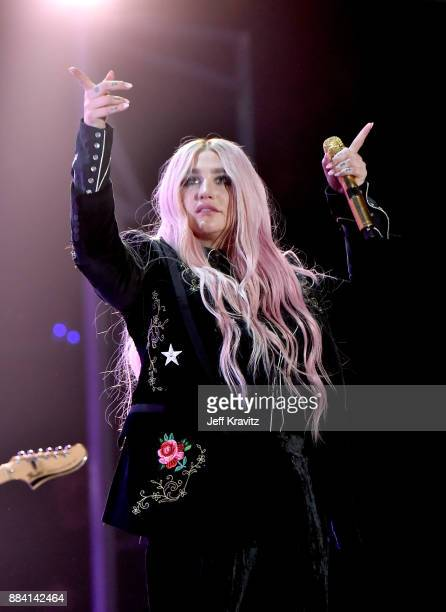 Kesha performs onstage during 1027 KIIS FM's Jingle Ball 2017 presented by Capital One at The Forum on December 1 2017 in Inglewood California