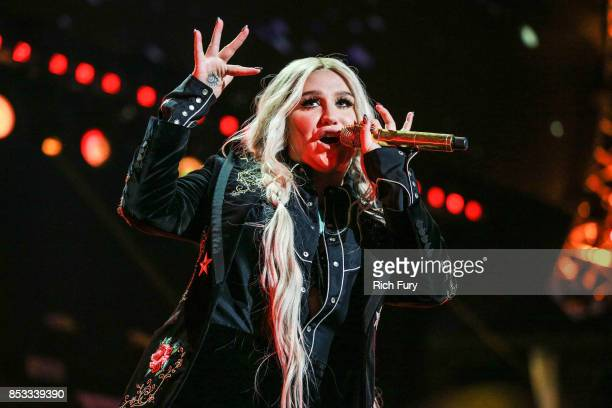 Kesha performs onstage during the iHeartRadio Music Festival at TMobile Arena on September 23 2017 in Las Vegas Nevada