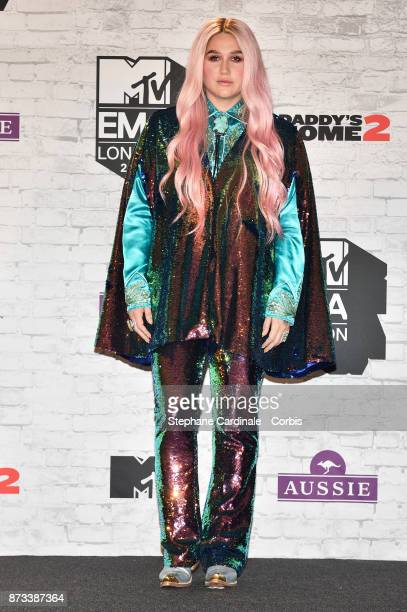 Kesha poses in the Winners Room during the MTV EMAs 2017 held at The SSE Arena Wembley on November 12 2017 in London England