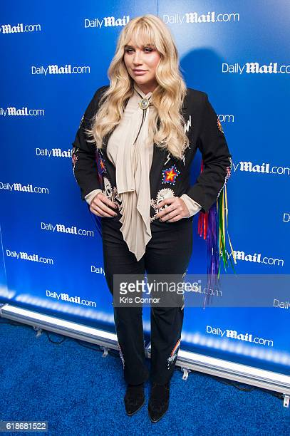 Kesha poses on the red carpet during the DailyMailcom Halloween Party at Heath at the McKittrick Hotel on October 27 2016 in New York City