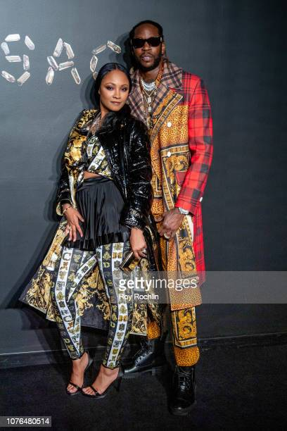 Kesha Ward and 2 Chainz attend the the Versace fall 2019 fashion show at the American Stock Exchange Building in lower Manhattan on December 02 2018...