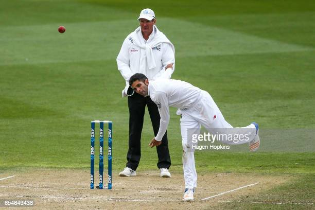 Keshav Maharaj of South Africa bowls during day three of the test match between New Zealand and South Africa at Basin Reserve on March 18 2017 in...