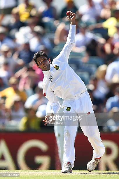 Keshav Maharaj of South Africa bowls during day two of the First Test match between Australia and South Africa at the WACA on November 4 2016 in...