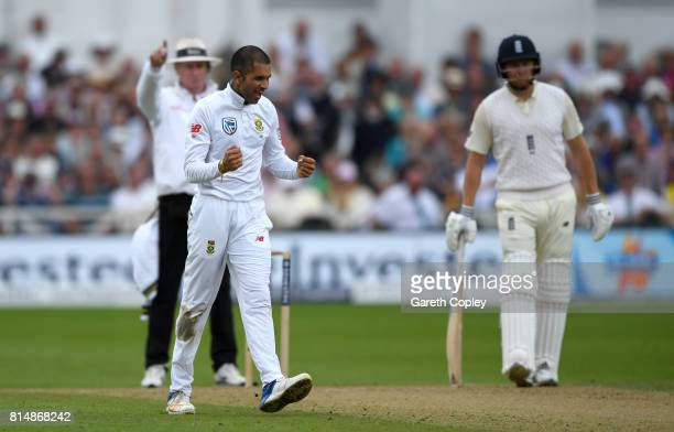 Keshav Maharaj of South Africa celebrates dismissing Ben Stokes of England during day two of the 2nd Investec Test match between England and South...
