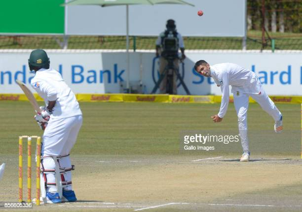 Keshav Maharaj of South Africa during day 5 of the 1st Sunfoil Test match between South Africa and Bangladesh at Senwes Park on October 02 2017 in...