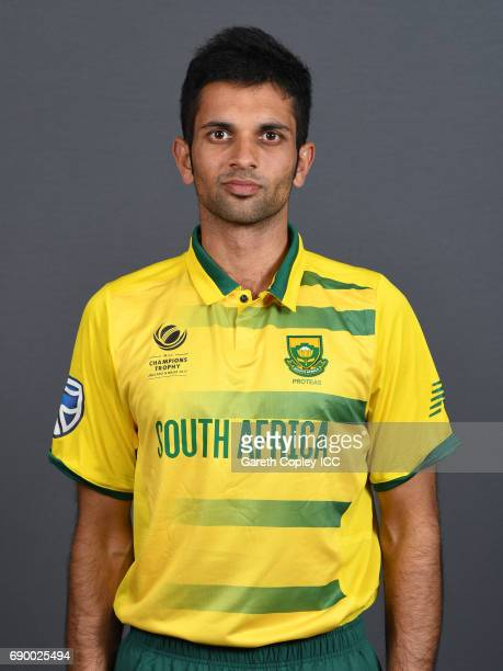 Keshav Maharaj of South Africa poses for a portrait at Royal Garden Hotel on May 30 2017 in London England