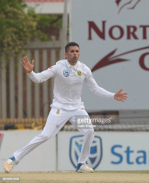 Keshav Maharaj of South Africa reacts during day 2 of the 1st Sunfoil Test match between South Africa and Bangladesh at Senwes Park on September 29...