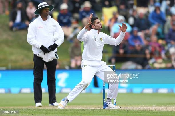 Keshav Maharaj of South Africa reacts during day three of the First Test match between New Zealand and South Africa at University Oval on March 10...