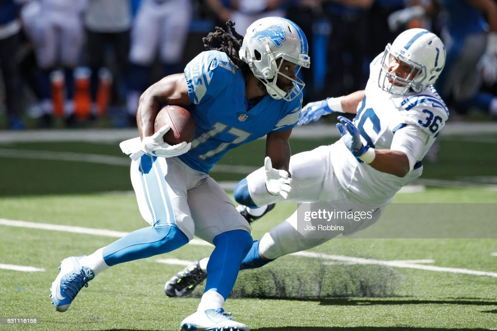 Keshawn Martin #17 of the Detroit Lions makes a move after a reception against Andrew Williamson #36 of the Indianapolis Colts in the second half of a preseason game at Lucas Oil Stadium on August 13, 2017 in Indianapolis, Indiana.