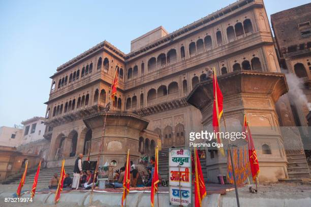 keshi ghat ceremony  in vrindavan. india - yamuna river stock pictures, royalty-free photos & images