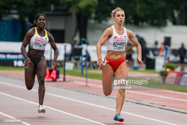 Keshia Beverly Kwadwo from Germany and Klaudia Adamek from Poland competing during Women's 100m Round 1 during 2021 European Athletics U23...