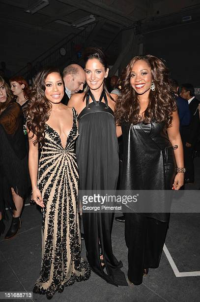 Keshia Chante Chantal Kreviazuk and Divine Brown attend Fashion Cares A Night Of Glitter Light Featuring Elton John Show at Sony Centre For...