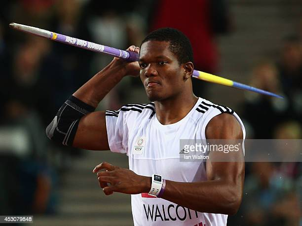 Keshorn Walcott of Trinidad and Tobago competes in the Men's Javelin final at Hampden Park during day ten of the Glasgow 2014 Commonwealth Games on...