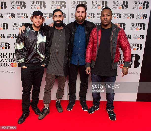 Kesi Dryden Amir Amor Piers Agget and Leon Rolle of Rudimental attend the nominations launch for The Brit Awards 2016 at ITV Studios on January 14...