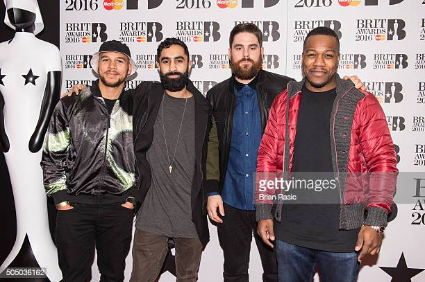 ONLY] Kesi Dryden Amir Amor Piers Agget and Leon Rolle of Rudimental attend the nominations launch for The Brit Awards 2016 at ITV Studios on January...