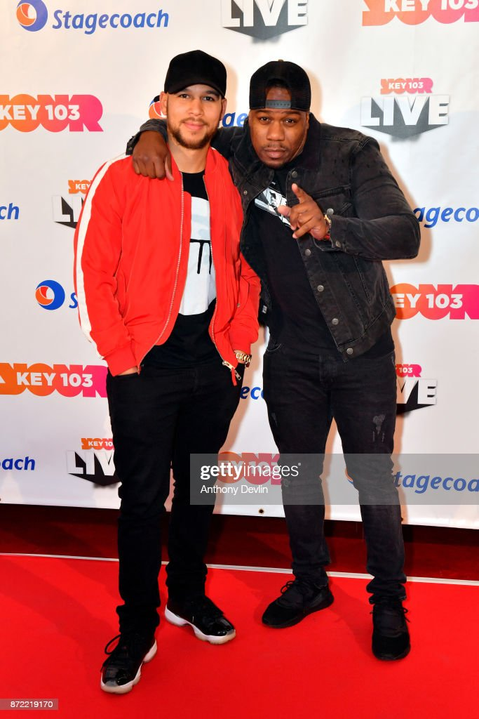 Kesi Dryden (L) and Leon Rolle from Rudimental pose before perfoming at Key 103 Live held at the Manchester Arena on November 9, 2017 in Manchester, England.