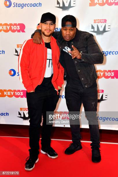 Kesi Dryden and Leon Rolle from Rudimental pose before perfoming at Key 103 Live held at the Manchester Arena on November 9 2017 in Manchester England