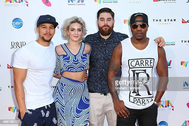 Kesi Dryden AnneMarie Piers Agget and DJ Locksmith from Rudimental arrive for the 29th Annual ARIA Awards 2015 at The Star on November 26 2015 in...