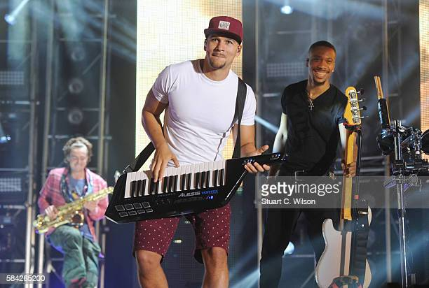Kesi Dryden of Rudimental performs during 'MTV Crashes' at Plymouth Hoe on July 28 2016 in Plymouth England