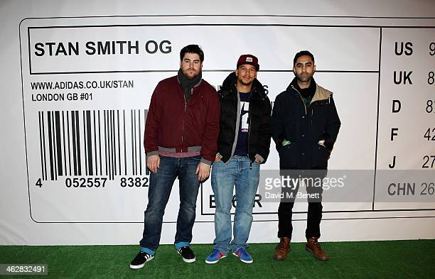 Kesi Dryden Piers Agget and Amir Amor of Rudimental attend the @adidasuk #stansmith popup shop launch event on January 15 2014 in London England