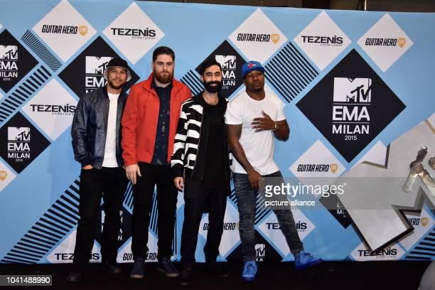 Kesi Dryden Piers Aggett Amir Amor and DJ Locksmith of Rudimental pose in the Winners Room of the 2015 MTV Europe Music Awards EMAs at Mediolanum...