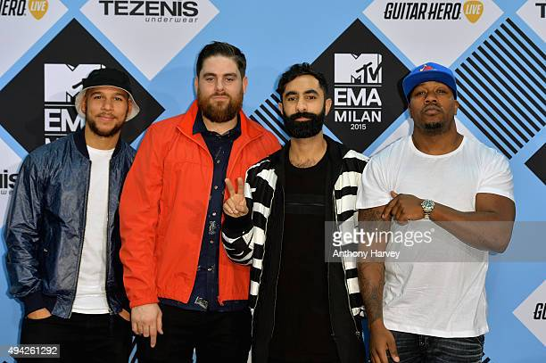 Kesi Dryden Piers Aggett Amir Amor and DJ Locksmith of Rudimental pose in the Winners Room after performing at the MTV EMA's 2015 at the Mediolanum...