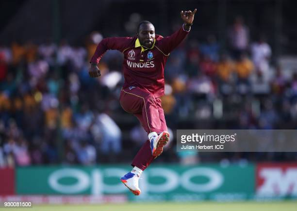 Kesrick Wilson of The West Indies celebrates the wicket of Gary Wilson of Ireland during The ICC Cricket World Cup Qualifier between The West Indies...